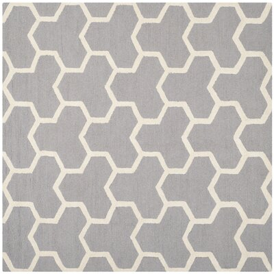 Harbin Silver/Ivory Area Rug Rug Size: Square 6