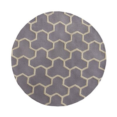 Harbin Silver/Ivory Area Rug Rug Size: 6 Round