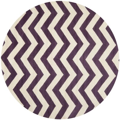 Averett Hand-Tufted Wool Purple/Ivory Area Rug Rug Size: Round 5