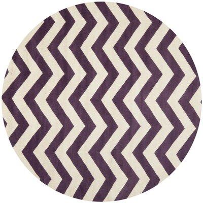 Averett Purple / Ivory Area Rug Rug Size: Round 7