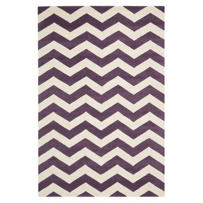 Averett Hand-Tufted Wool Purple/Ivory Area Rug Rug Size: Rectangle 6 x 9