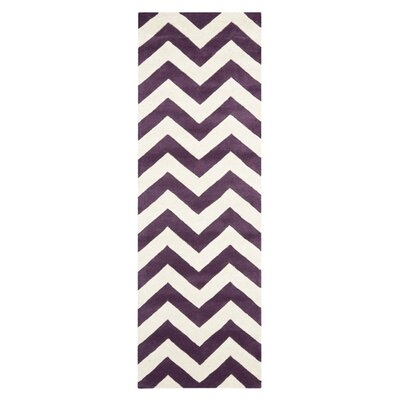 Averett Hand-Tufted Wool Purple/Ivory Area Rug Rug Size: Runner 23 x 9