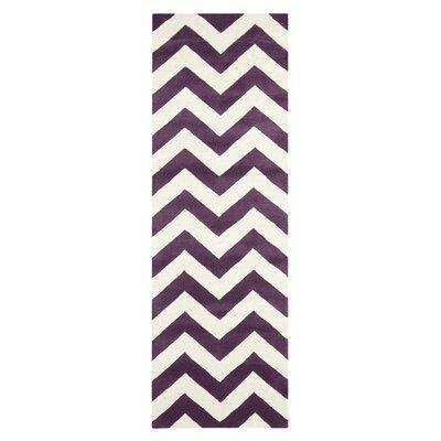 Averett Purple / Ivory Area Rug Rug Size: Runner 23 x 5