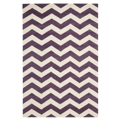 Averett Purple / Ivory Area Rug Rug Size: 6 x 9