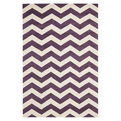 Averett Purple / Ivory Area Rug Rug Size: 4' x 6'