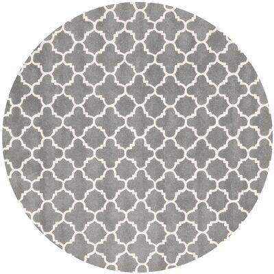 Averett Hand-Tufted Wool Dark Gray/Ivory Area Rug Rug Size: Round 7