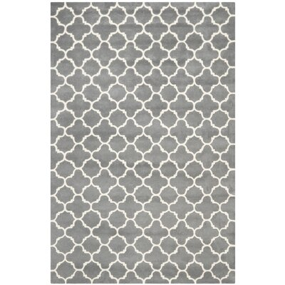 Averett Dark Grey & Ivory Area Rug Rug Size: 6 x 9