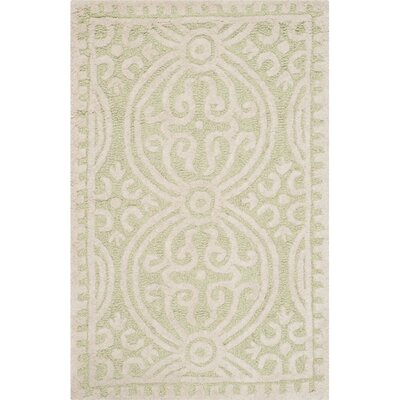 Diona Light Green/Ivory Area Rug Rug Size: 2'6