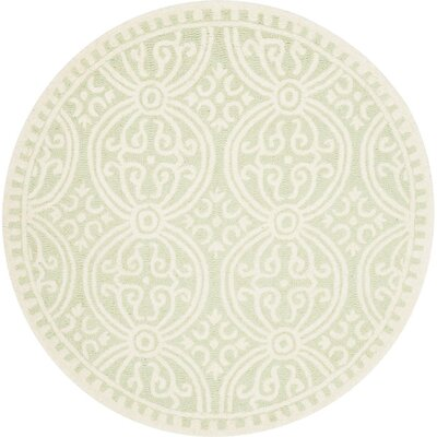 Diona Light Green/Ivory Area Rug Rug Size: Round 4