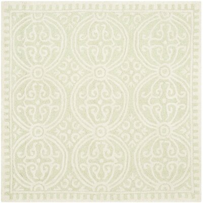 Diona Light Green/Ivory Area Rug Rug Size: Square 4'