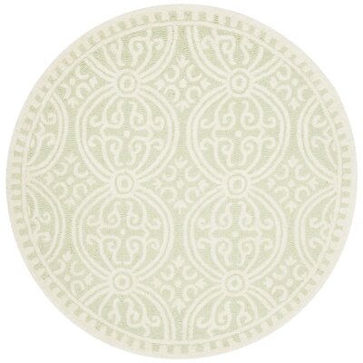 Diona Light Green/Ivory Area Rug Rug Size: Round 6
