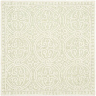 Diona Light Green/Ivory Area Rug Rug Size: Square 8'