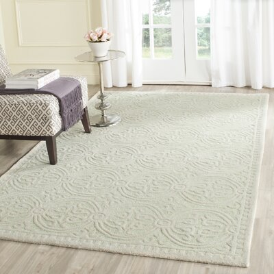 Diona Light Green/Ivory Area Rug Rug Size: Square 8