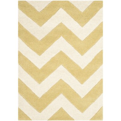 Averett Light Gold / Ivory Rug Rug Size: 2' x 3'