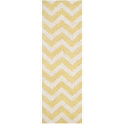 Averett Hand-Tufted Light Gold/Ivory Area Rug Rug Size: Runner 23 x 5