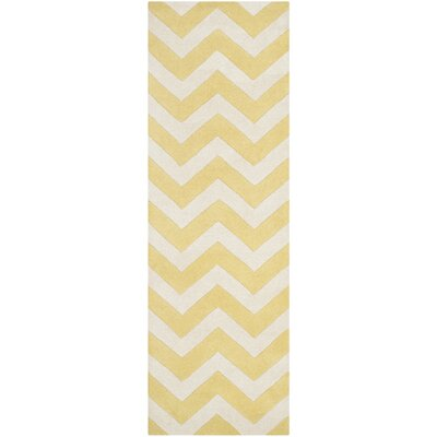 Averett Hand-Tufted Light Gold/Ivory Area Rug Rug Size: Runner 23 x 9