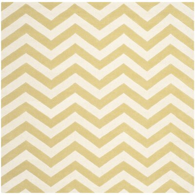 Averett Hand-Tufted Light Gold/Ivory Area Rug Rug Size: Square 7