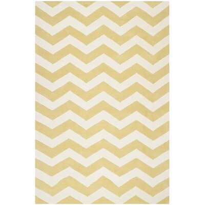 Averett Light Gold / Ivory Rug Rug Size: 6 x 9
