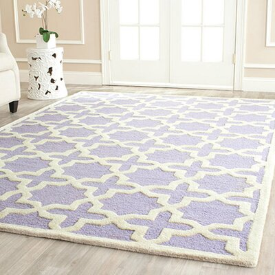 Harbin Hand-Tufted Wool Lavender/Ivory Area Rug Rug Size: Rectangle 6 x 9
