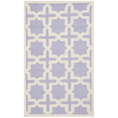 Harbin Hand-Tufted Wool Lavender/Ivory Area Rug Rug Size: Rectangle 26 x 4