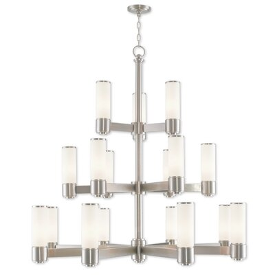 Kramer 17-Light Shaded Chandelier Finish: Brushed Nickel
