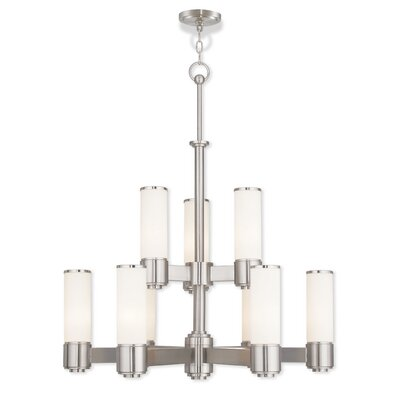Kramer 9-Light Shaded Chandelier Finish: Brushed Nickel