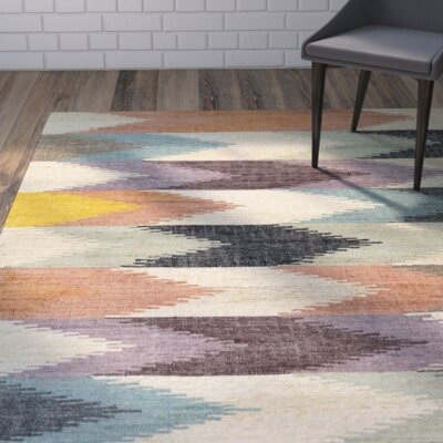 Lopp Hand-Woven Plum/Beige Blue Area Rug Rug Size: 96 x 136