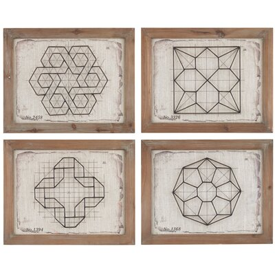 Geometric Wirework 4 Piece Framed Graphic Art Set