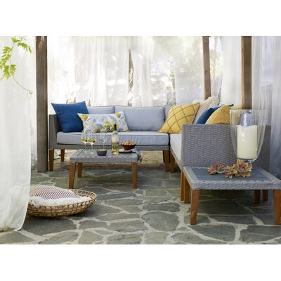 Brayden Studio Nolita 5 Piece Rattan Sectional Set with Cushions