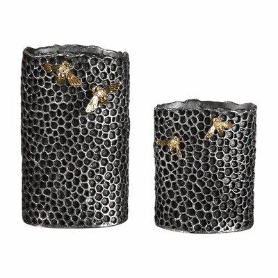 Hive 2 Piece Pewter Vase Set