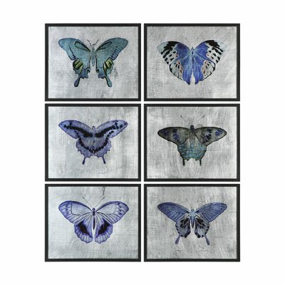 Vibrant Butterflies 6 Piece Framed Graphic Art Set