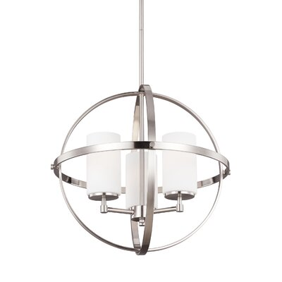 Haworth 3-Light Uni-sphere Globe Pendant Finish: Brushed Nickel