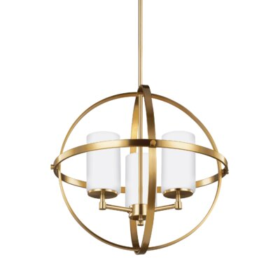 Haworth 3-Light Uni-sphere Globe Pendant Finish: Satin Bronze