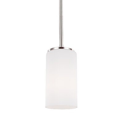 Haworth 1-Light Glass Shade Mini Pendant Finish: Brushed Nickel