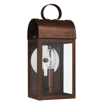 Orpheus 1-Light Outdoor Wall Lantern Finish: Weathered Copper