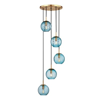Saltford 5-Light Bowl Pendant Finish: Aged brass, Shade color: Blue