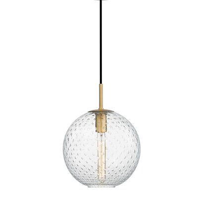 Saltford 1-Light Bowl Pendant Finish: Aged Brass, Shade color: Clear, Size: 12.75 H X 11.25 W X 11.25 D