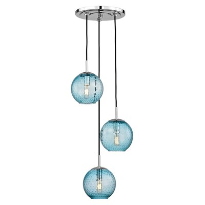Saltford 3 Bowl Light Globe Pendant Finish: Polished Chrome, Shade color: Blue