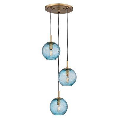 Saltford 3 Bowl Light Globe Pendant Finish: Aged Brass, Shade color: Blue