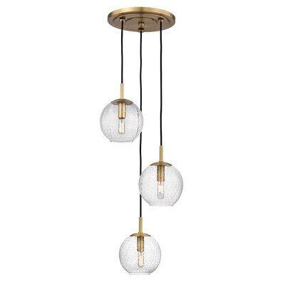 Saltford 3 Bowl Light Globe Pendant Finish: Aged Brass, Shade color: Clear