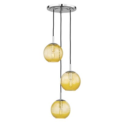 Saltford 3 Bowl Light Globe Pendant Finish: Polished Chrome, Shade color: Light