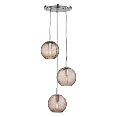 Saltford 3 Bowl Light Globe Pendant Finish: Polished Chrome, Shade color: Bronze