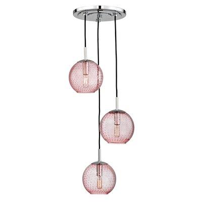 Saltford 3 Bowl Light Globe Pendant Finish: Polished Chrome, Shade color: Pink