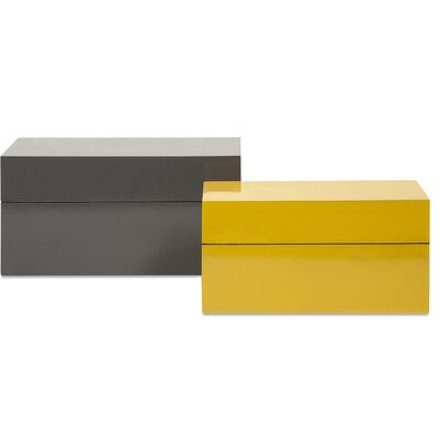 2 Piece Yellow/Gray Storage Box Set