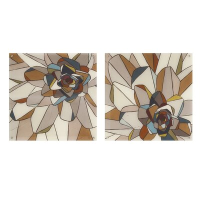 Brayden Studio Stained Glass Floral 2 Piece Painting Print Set
