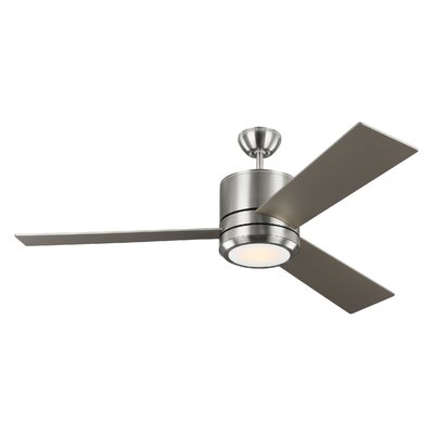56 Ossu 3 Blade LED Ceiling Fan Motor Finish: Brushed Steel