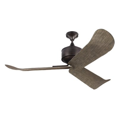 56 Metis 3-Blade Ceiling Fan with Remote Motor Finish: Aged Pewter