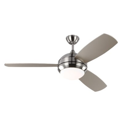 52 Lamptrai 3 Blade LED Ceiling Fan with Remote Motor Finish: Brushed Steel