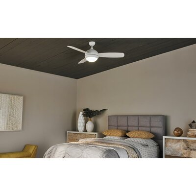 52 Lamptrai 3 Blade LED Ceiling Fan with Remote Motor Finish: Rubberized White
