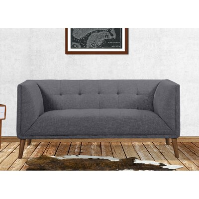 Kronos Mid-Century Chesterfield Loveseat Upholstery: Dark Gray